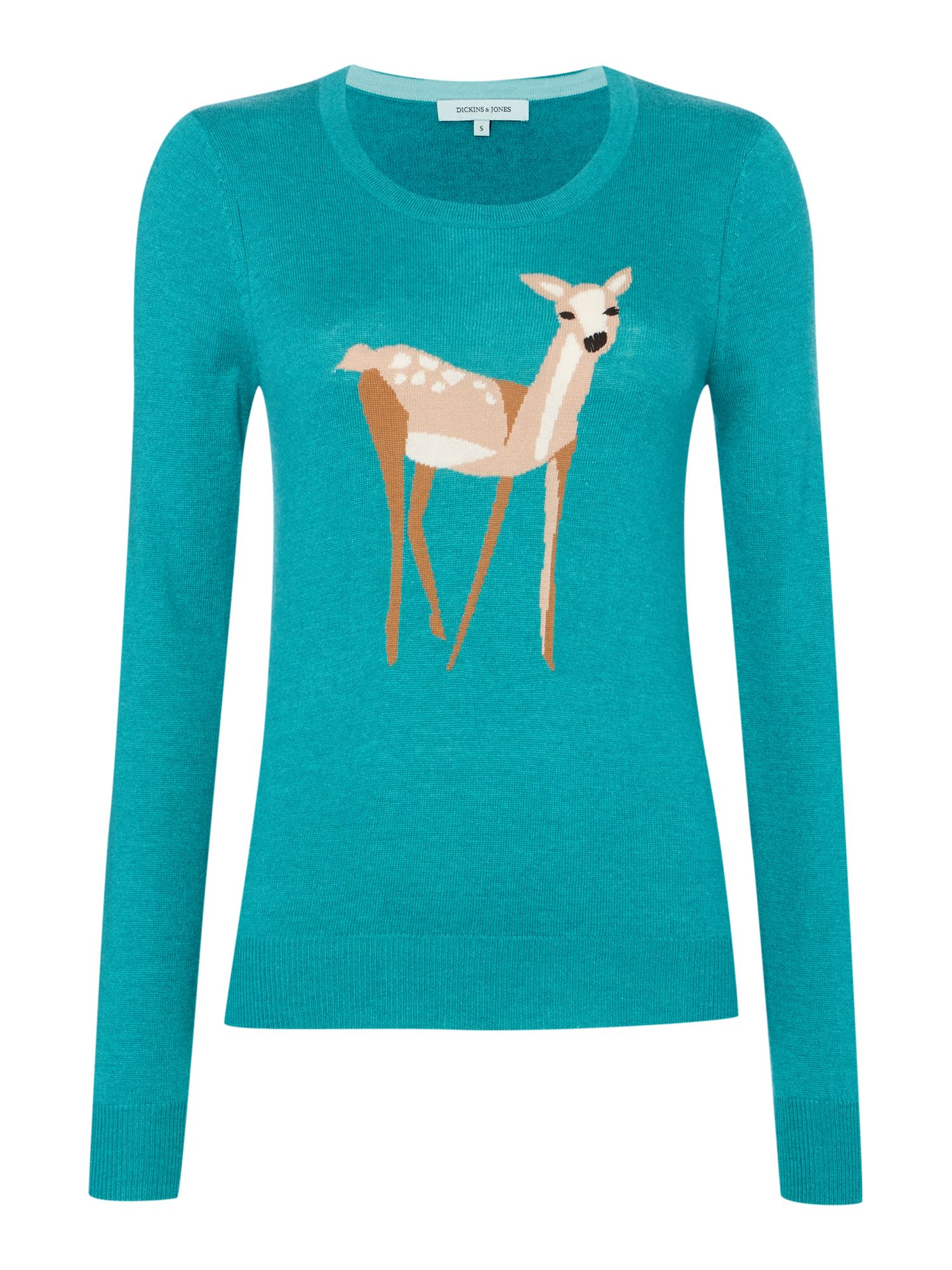knitted intarsia deer jumper