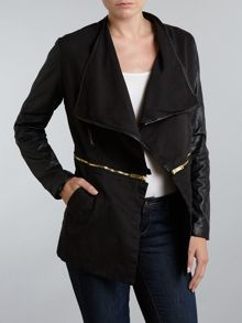 Frill front pu sleeve jacket