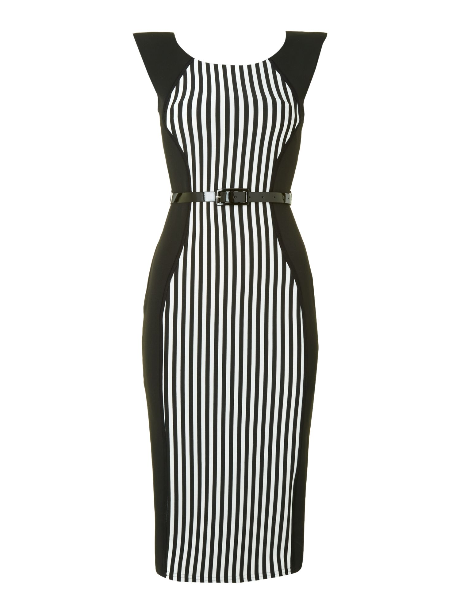 Vertical stripe panel bodycon dress