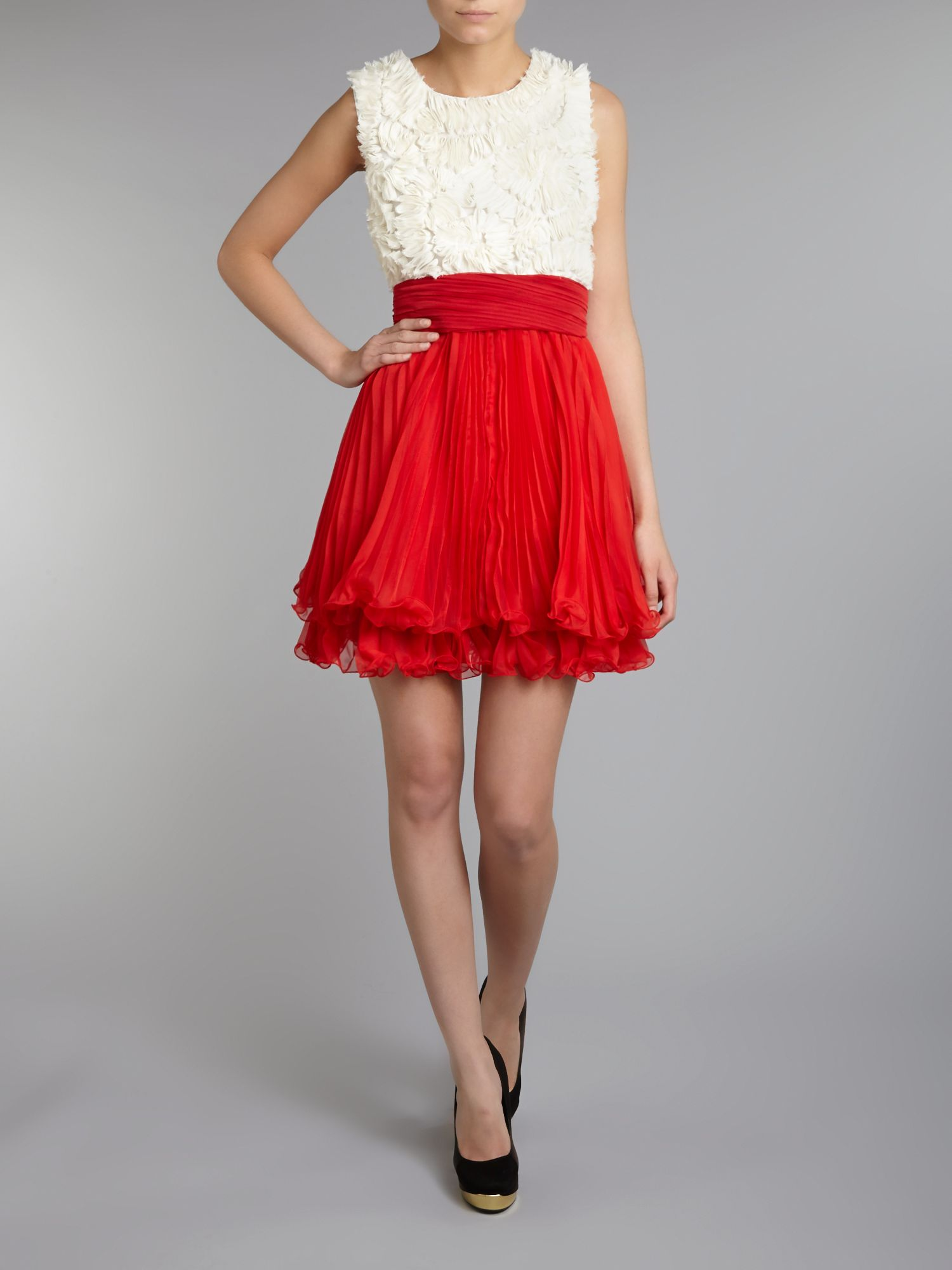 Ruffle lace bodice skater dress