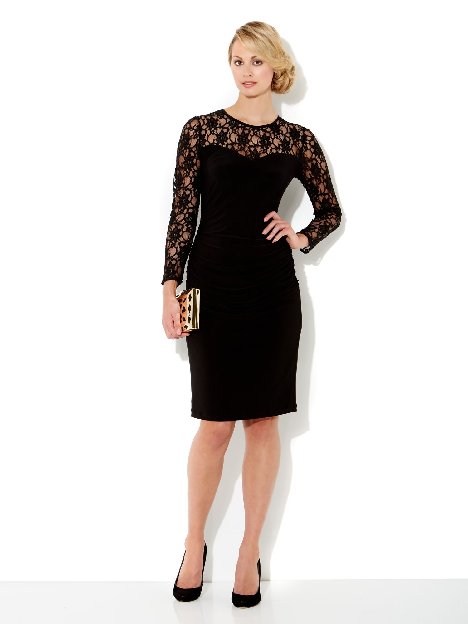 Jersey dress with lace sleeves