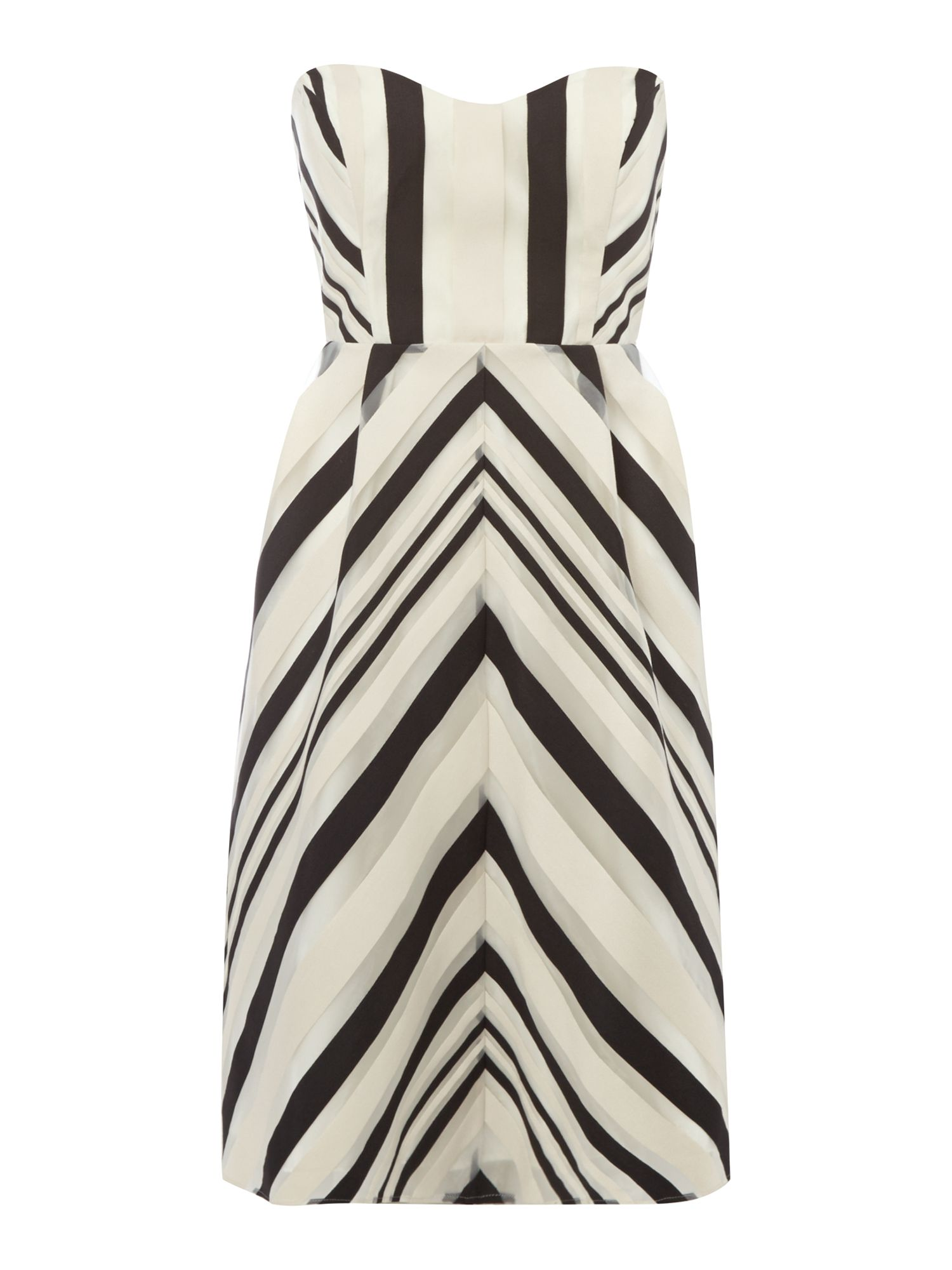 Chevron ribbon fit anf flare dress