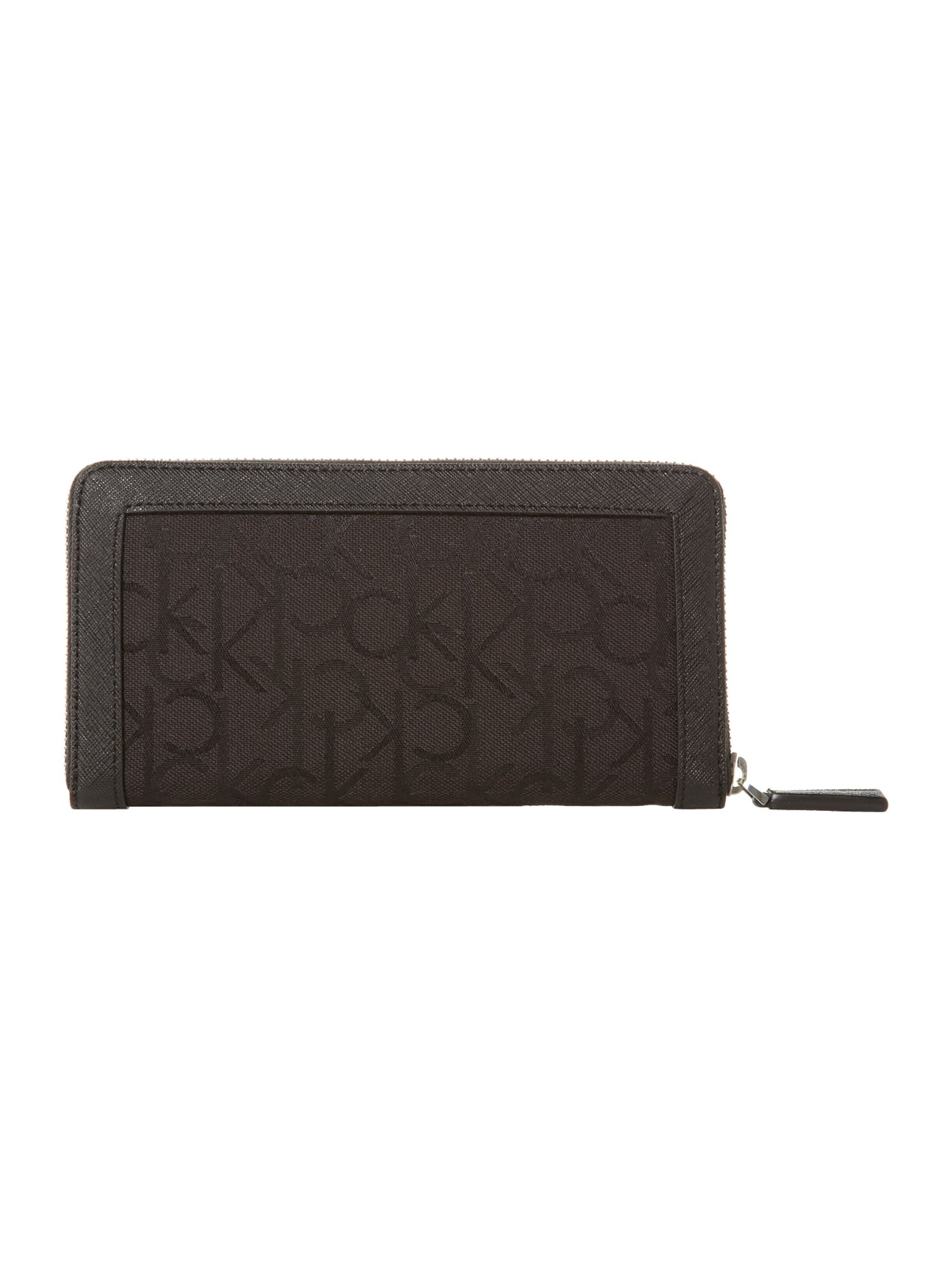 Jaquard logo black large zip around purse