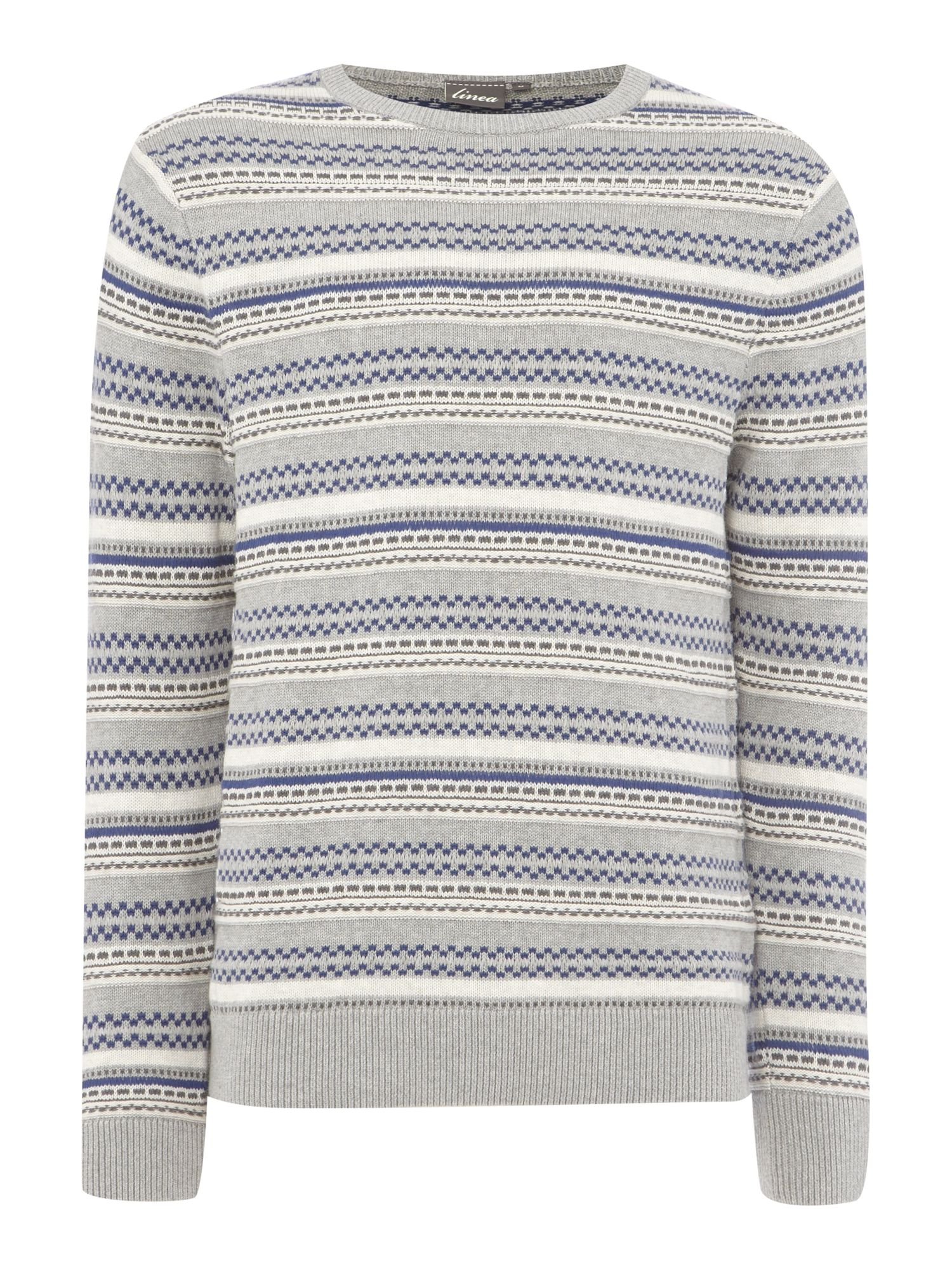 paris patterned stripe crew neck knit