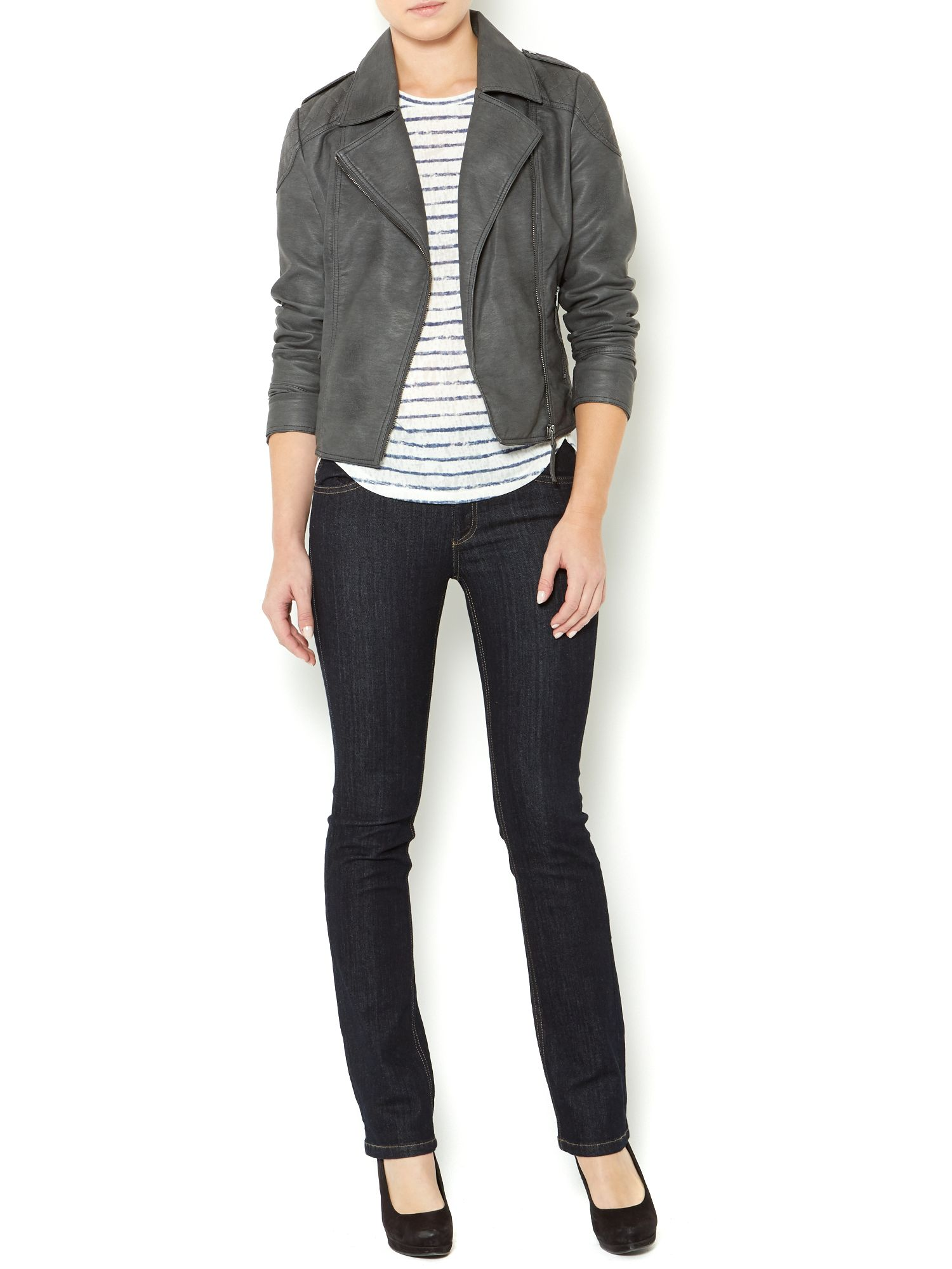 Ladies faux leather pu biker jacket