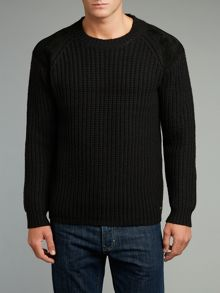 Knitted leather patch crew neck