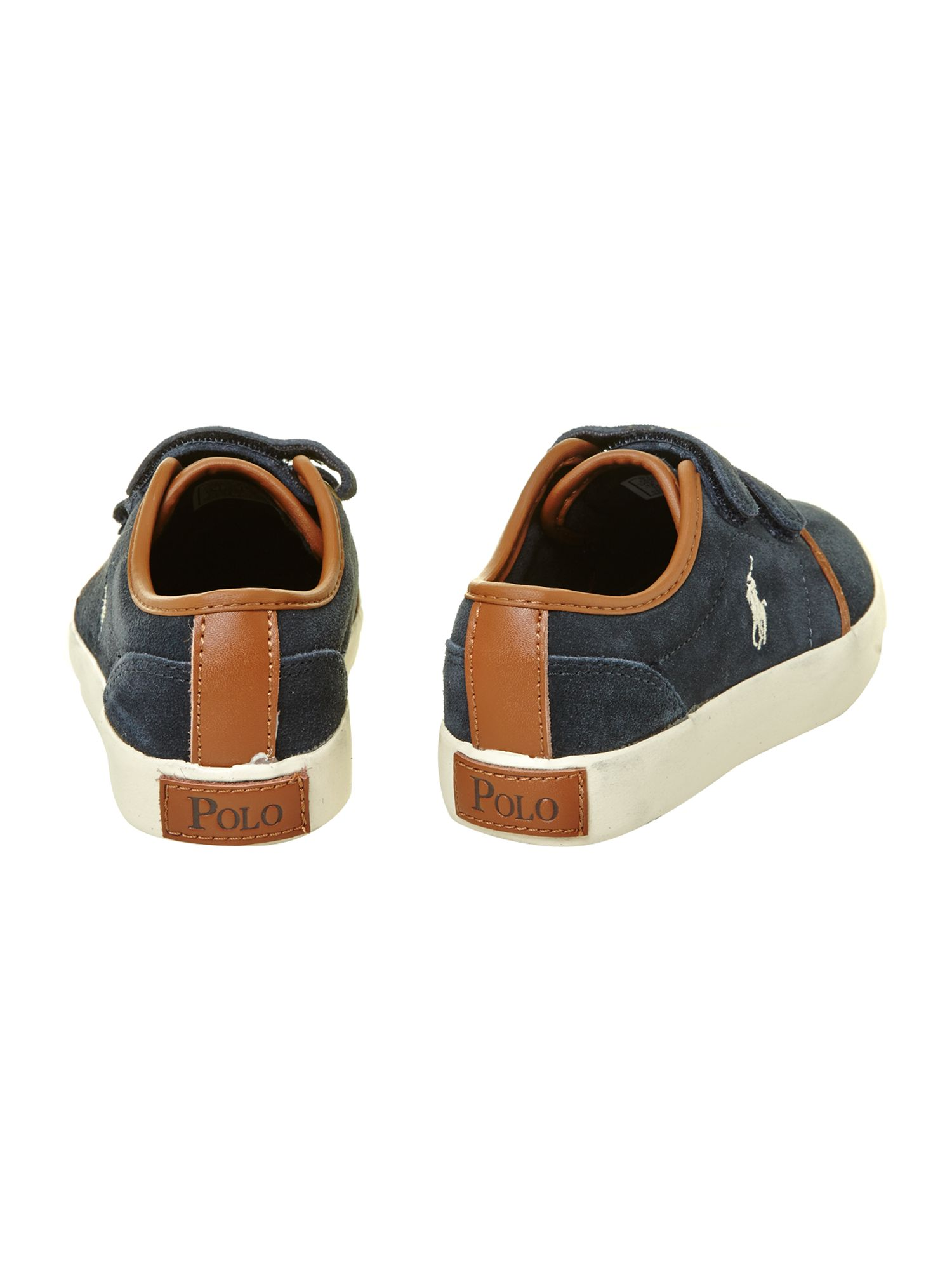 Boy`s leather low top velcro plimsole