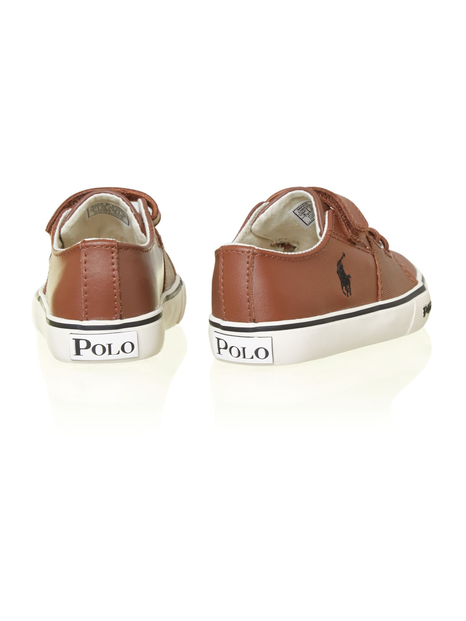 Boy`s leather velcro logo plimsole