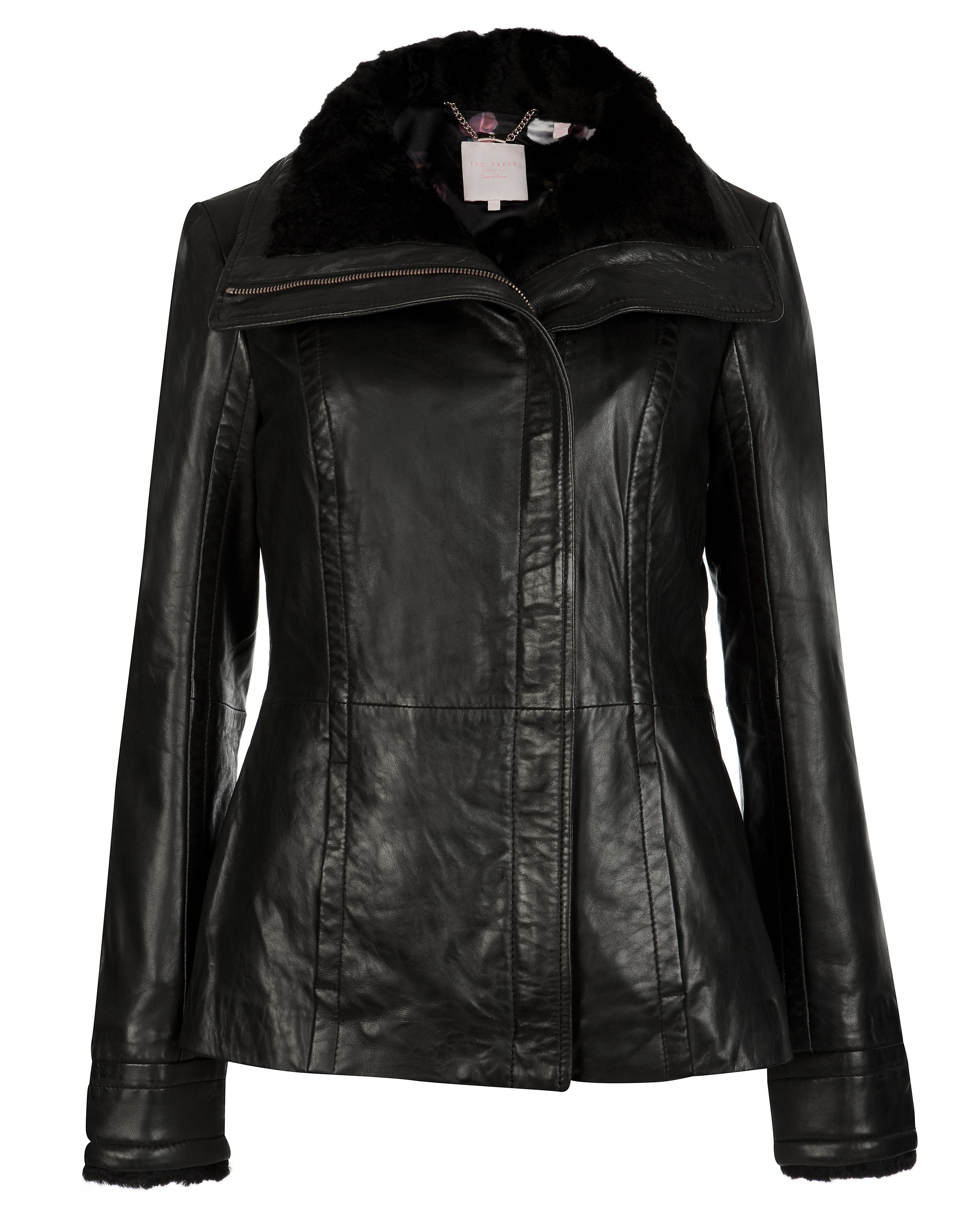 Ted Baker Amilia shearling collar leather jacket, Black