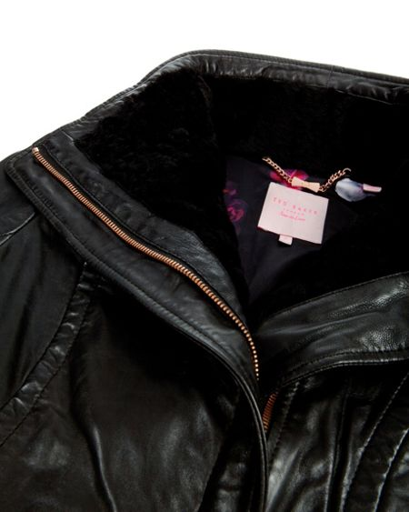 Ted Baker Amilia shearling collar leather jacket