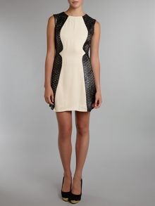 Sleeveless laser cut panel dress