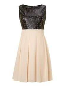 Fit and flare laser cut dress