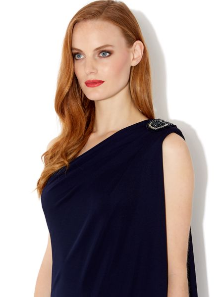 Biba One shoulder beaded drape dress