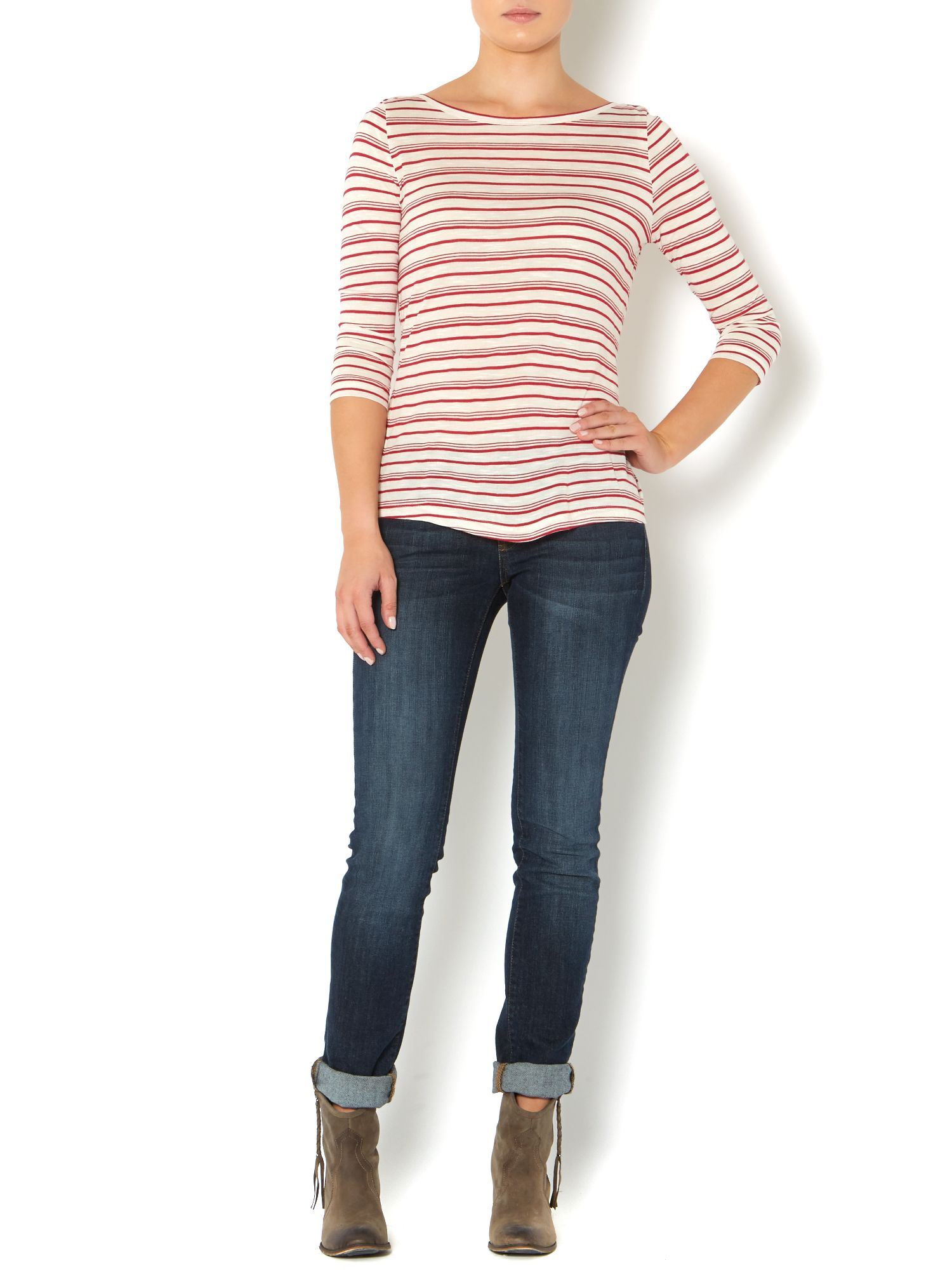 Striped linen mix top
