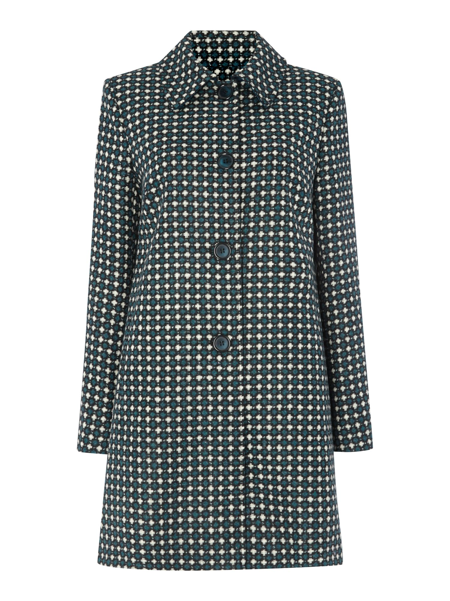 British wool geo print coat