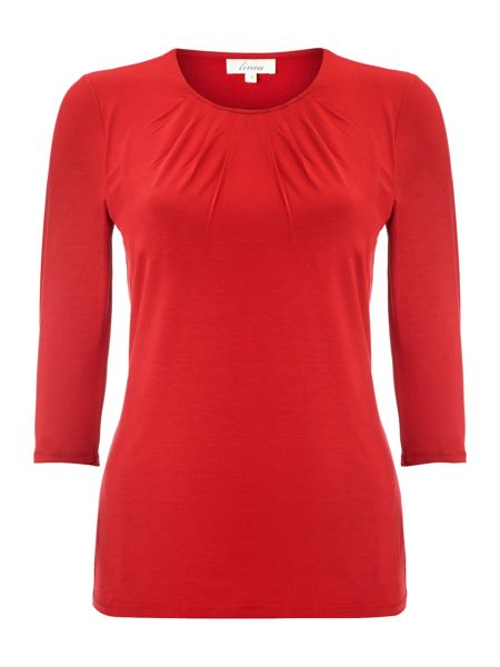 Linea Essential pleat front jersey 3/4 sleeve top