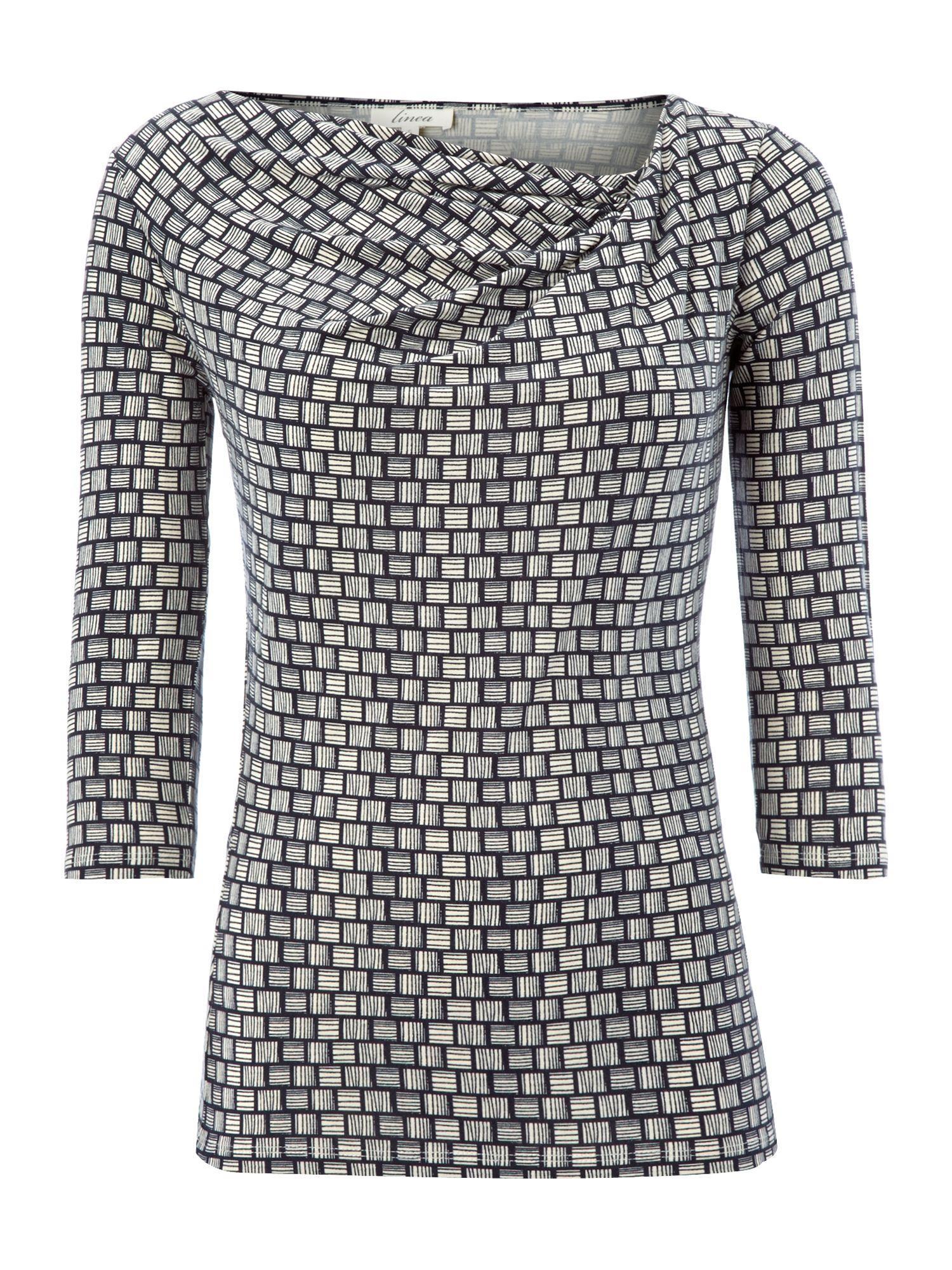 3/4 sleeve twist cowl geo print top