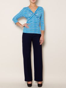 Essential cross front stripe jersey 3/4 slv top