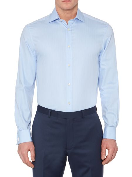 Howick Tailored Lewis Herringbone Cutaway Double Cuff Shirt