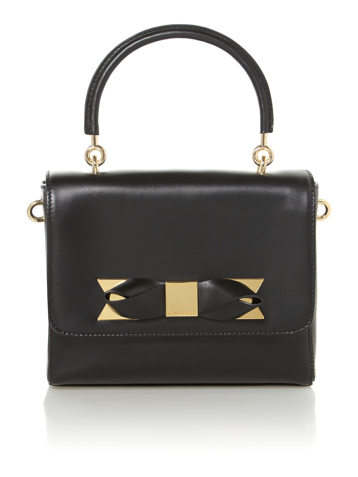 Small black crossbody bow leather bag