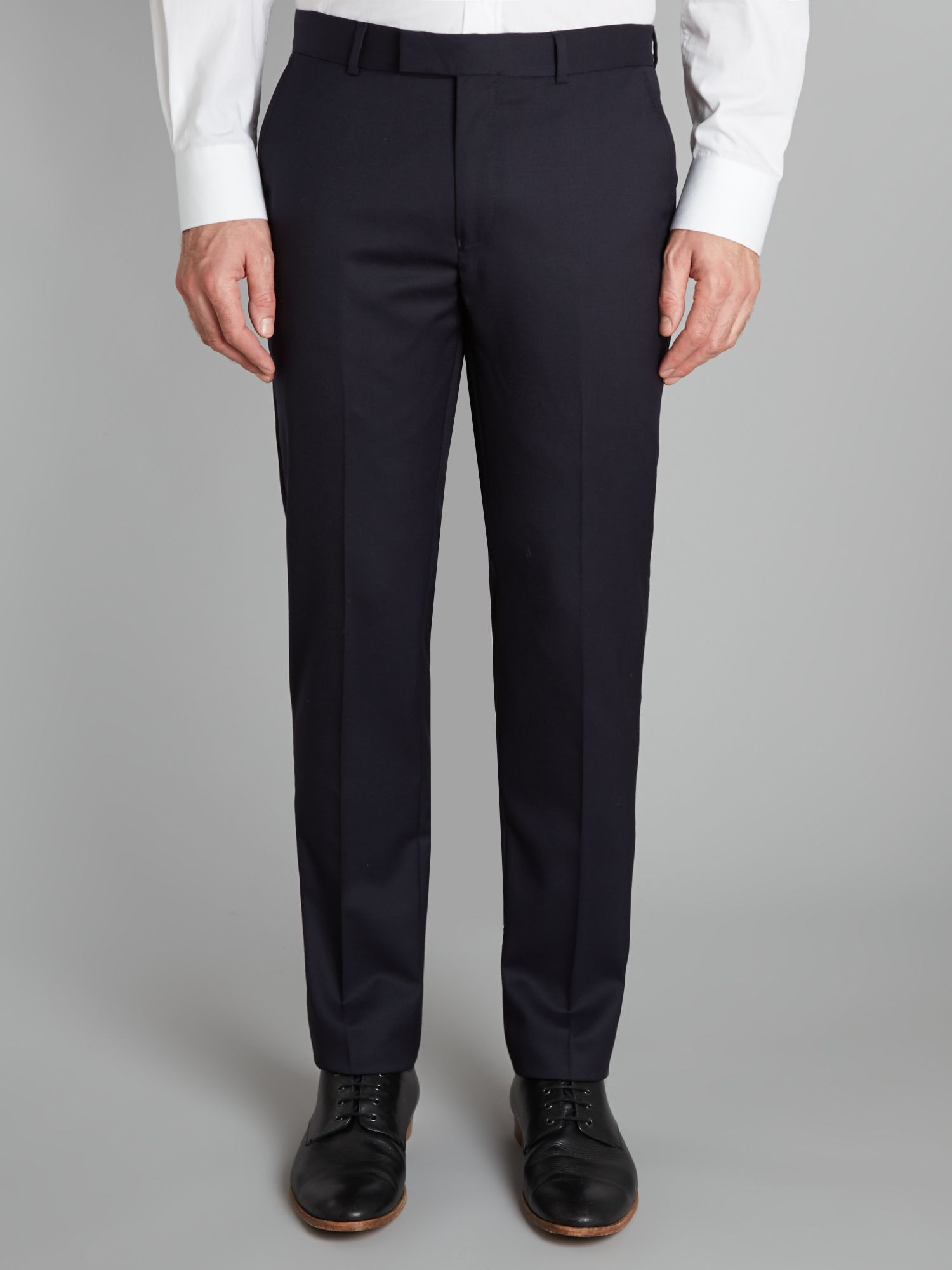Plain twill slim suit trousers