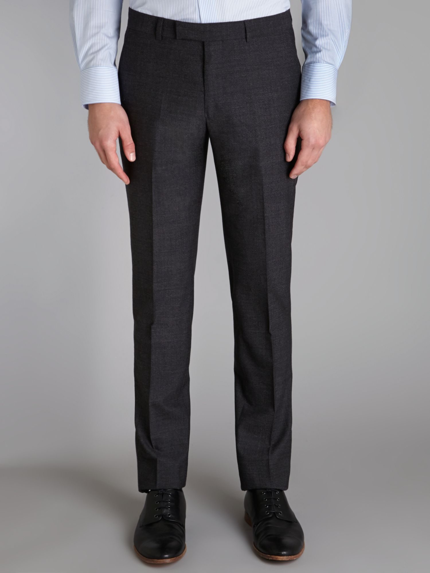 Textured weave slim suit trousers