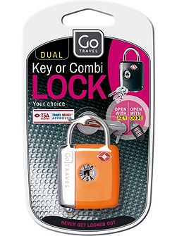 Dual combination key padlock, assorted colours