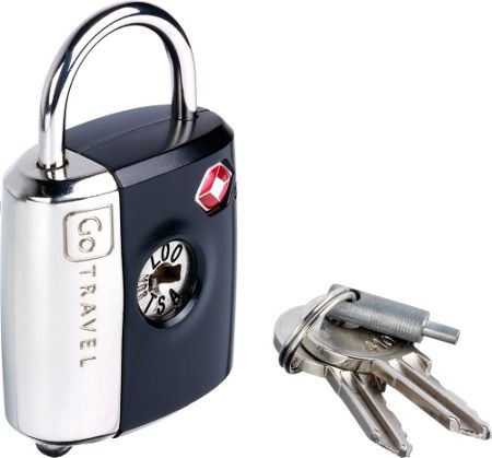 Go Travel Dual combination key padlock, assorted colours