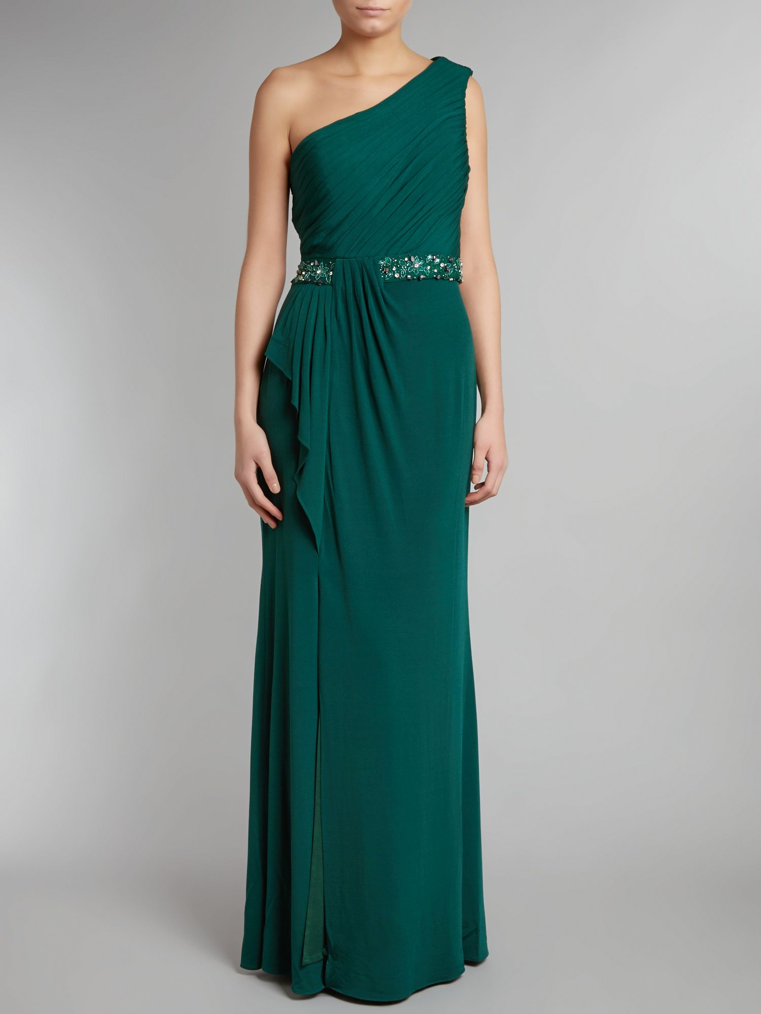 One shoulder long beaded dress