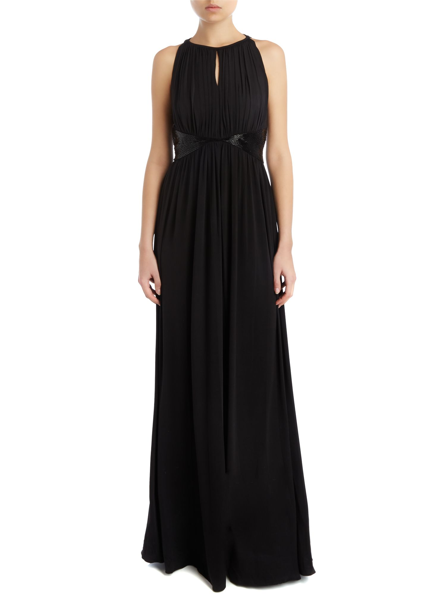 Beaded Waist Full Length Gown
