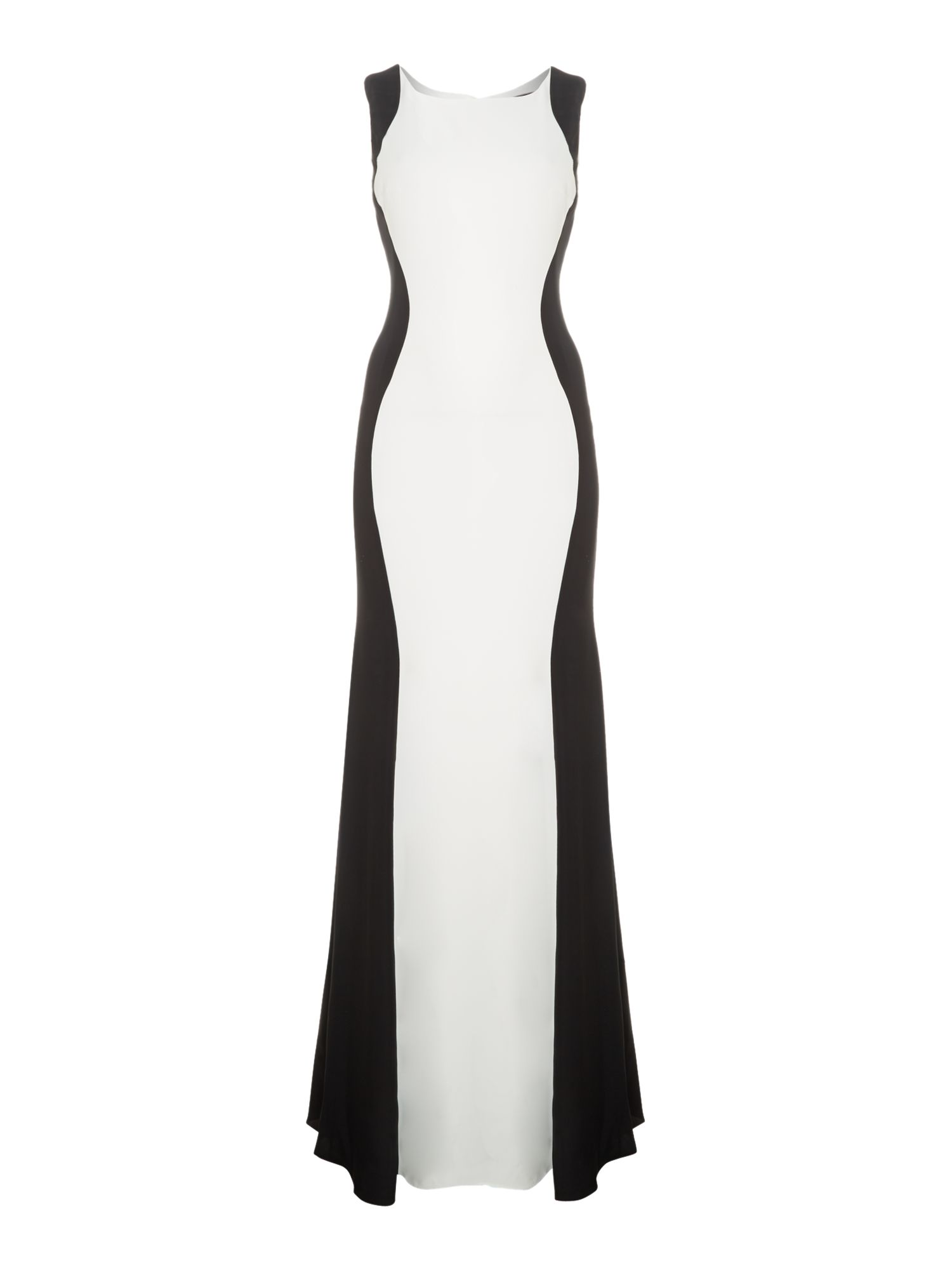 JS Collections Black Fitted Colour Block Gown, Black & Ivory