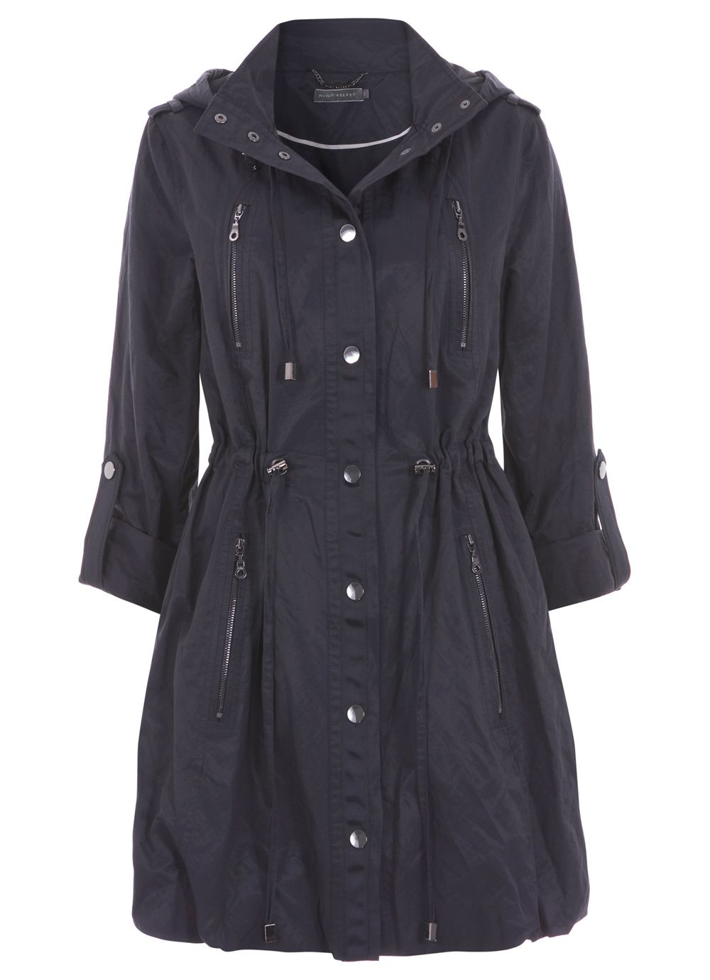 Midnight blue zip detail parka