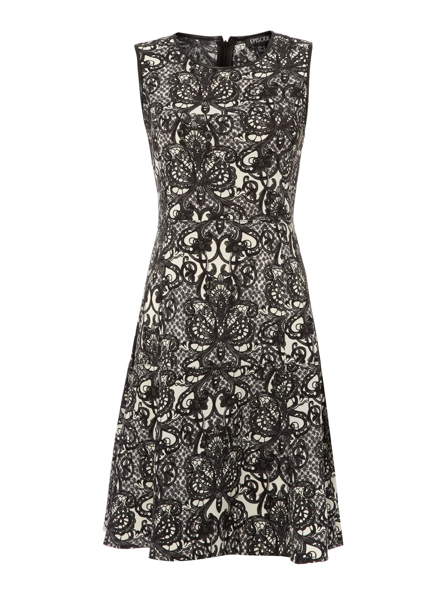 Fit & flare lace printed dress with belt