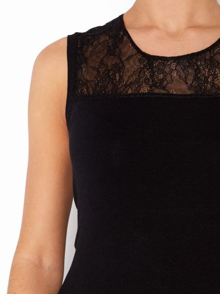 Episode Lace knit shell with silk