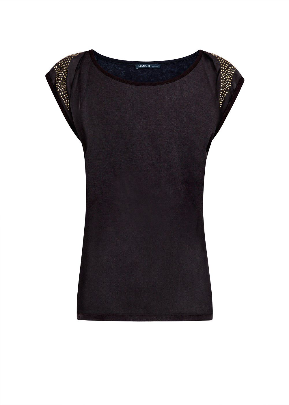 Mango Satin panel studs top, Black