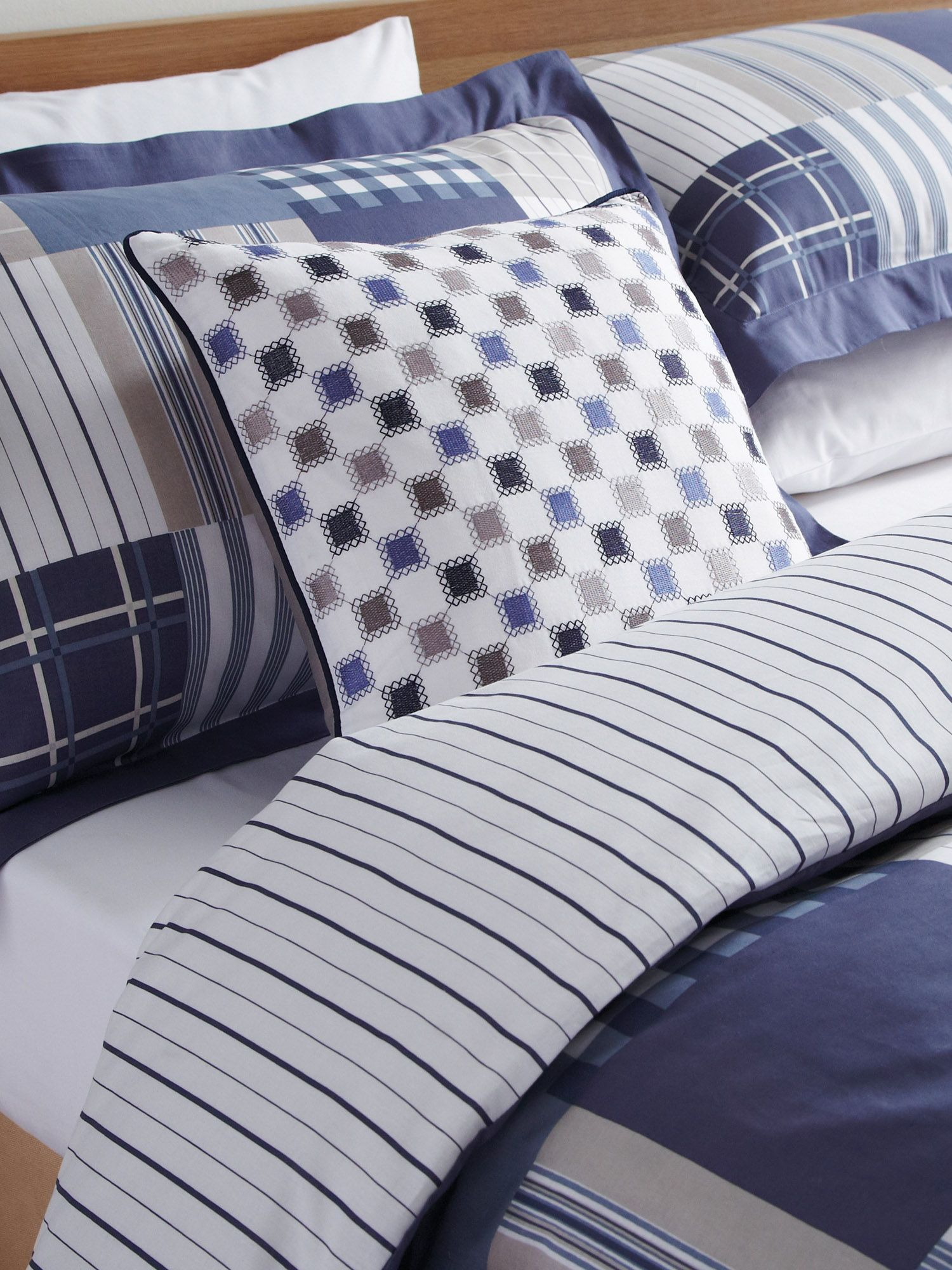 Morton check cushions 40 x 40 cm  navy