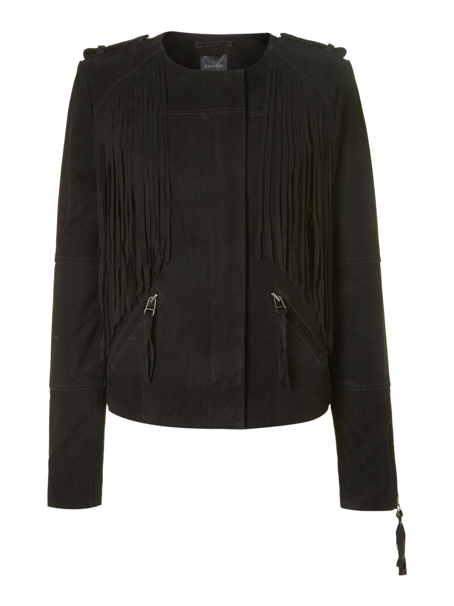 Zip fringed jacket