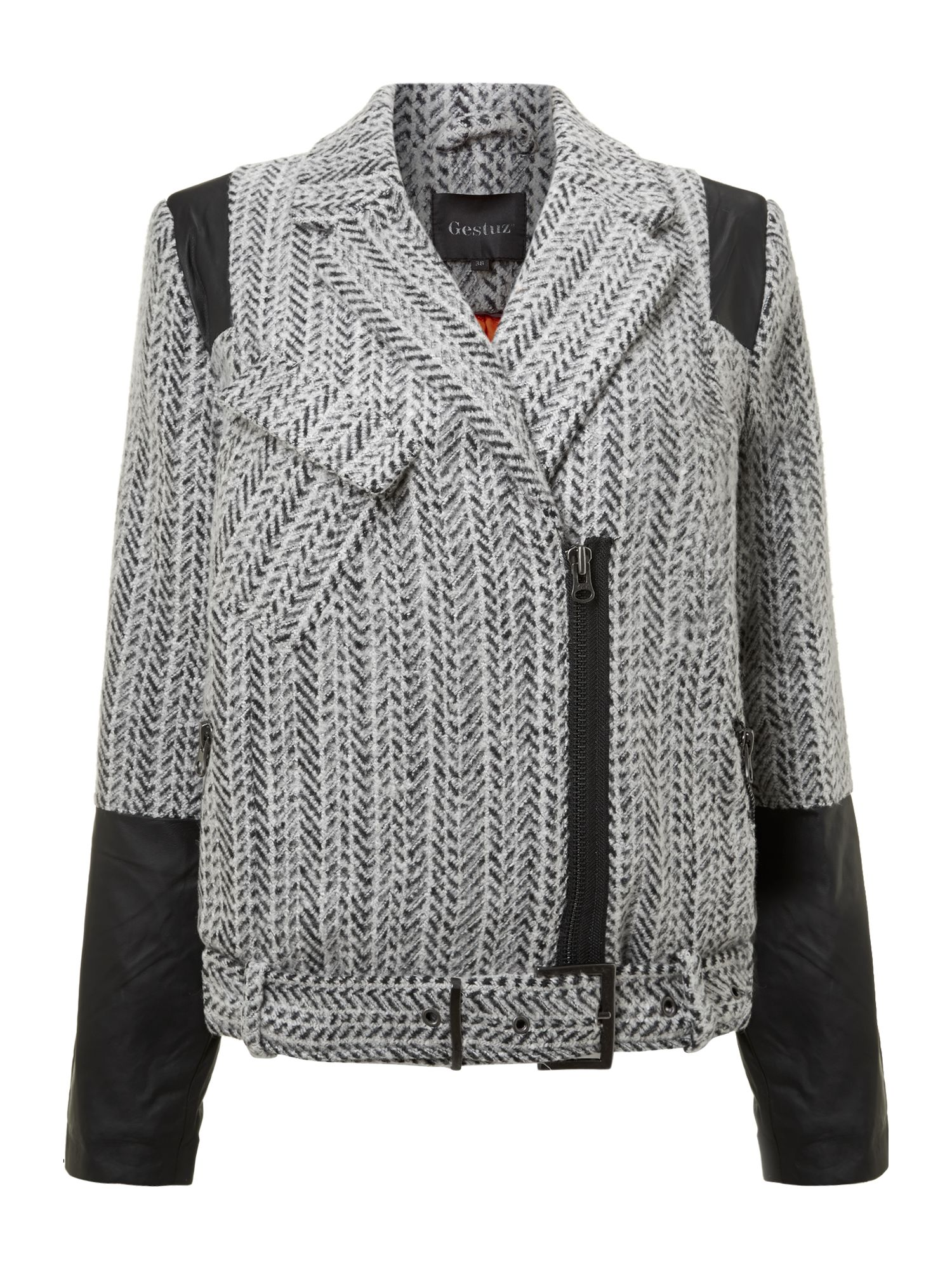 Tweed zip biker leather cuff jacket