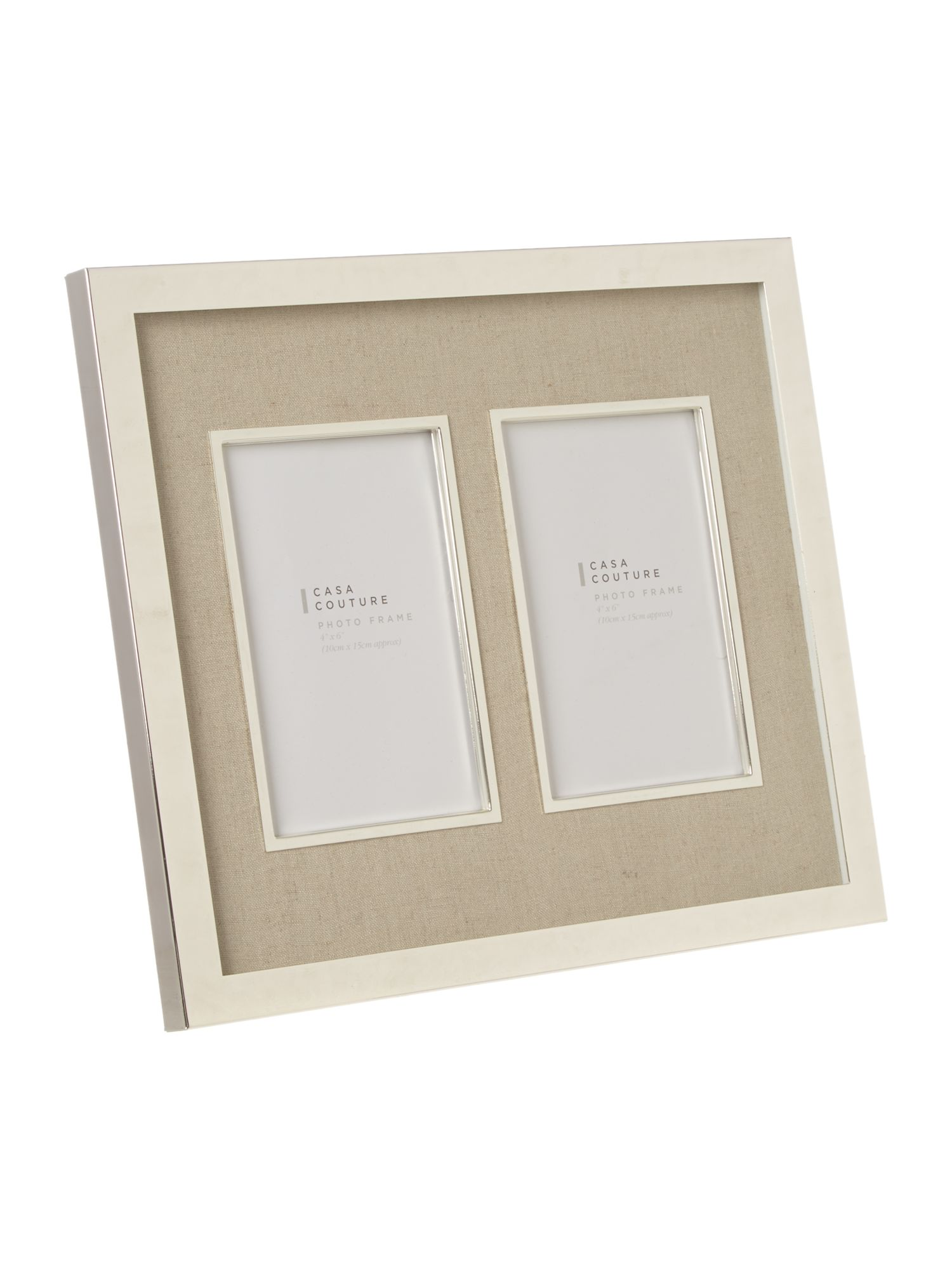 Cream fabric photo frame, double aperture