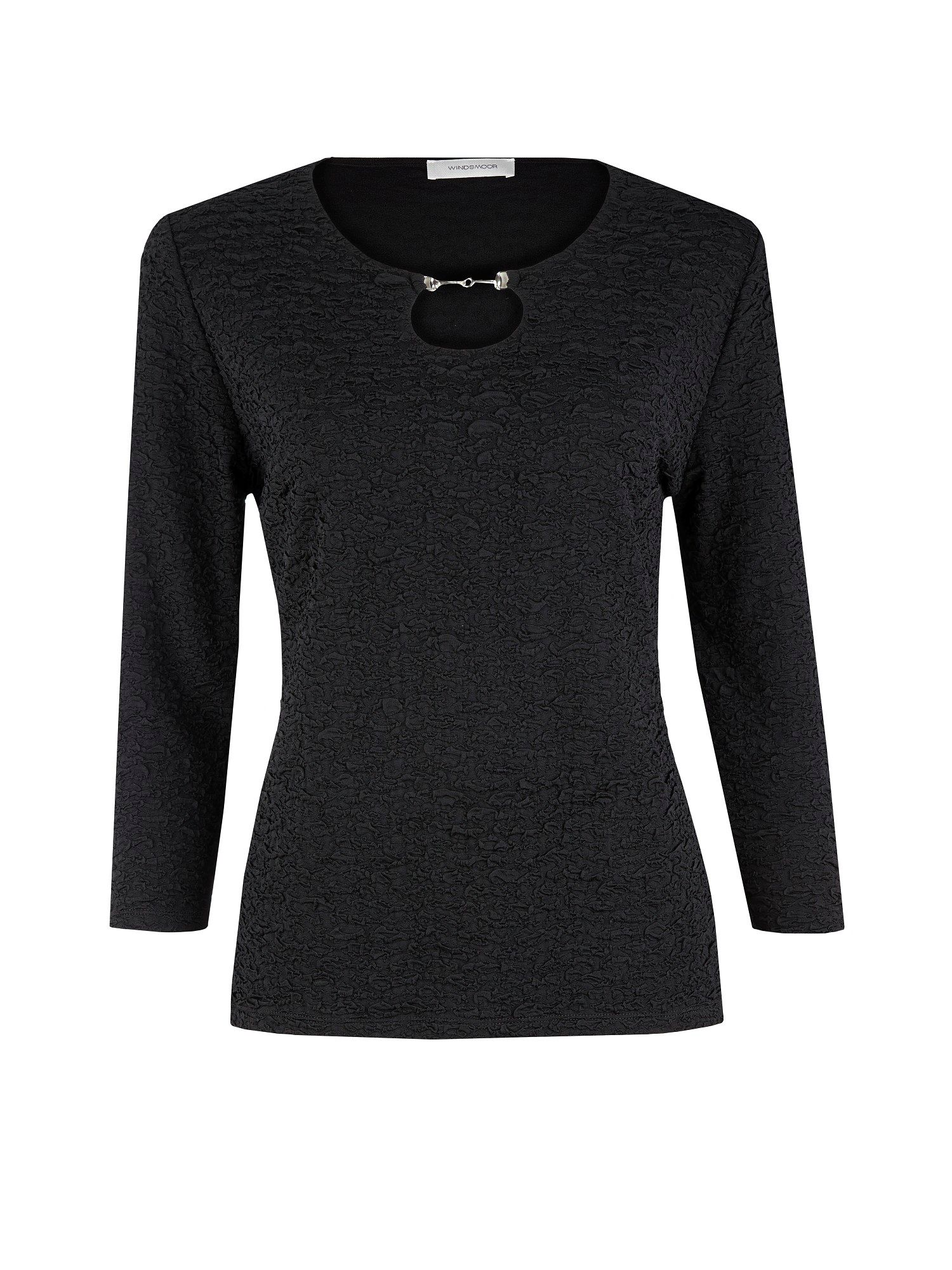 Black textured jersey top