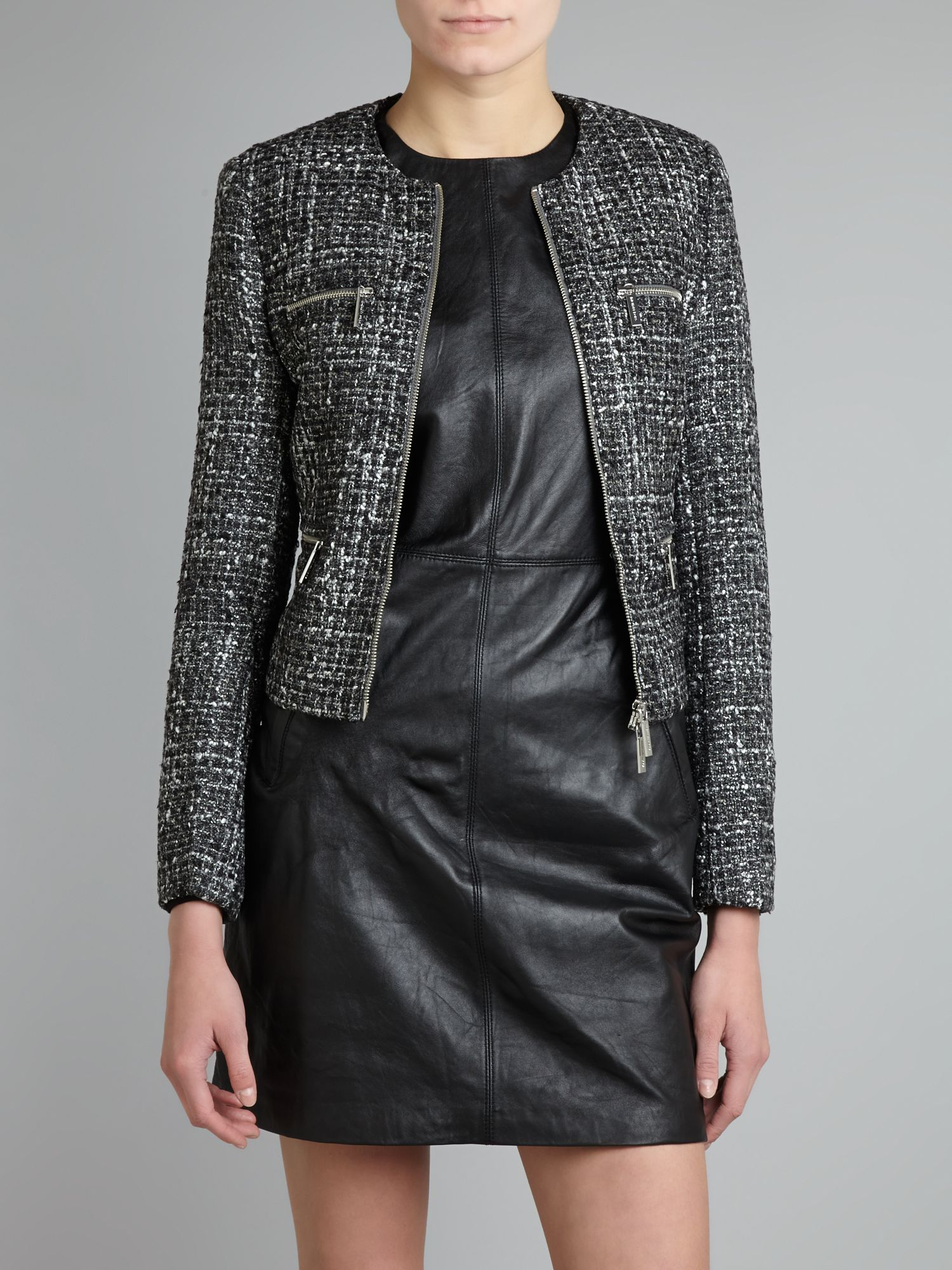 Jacket with boucle zip