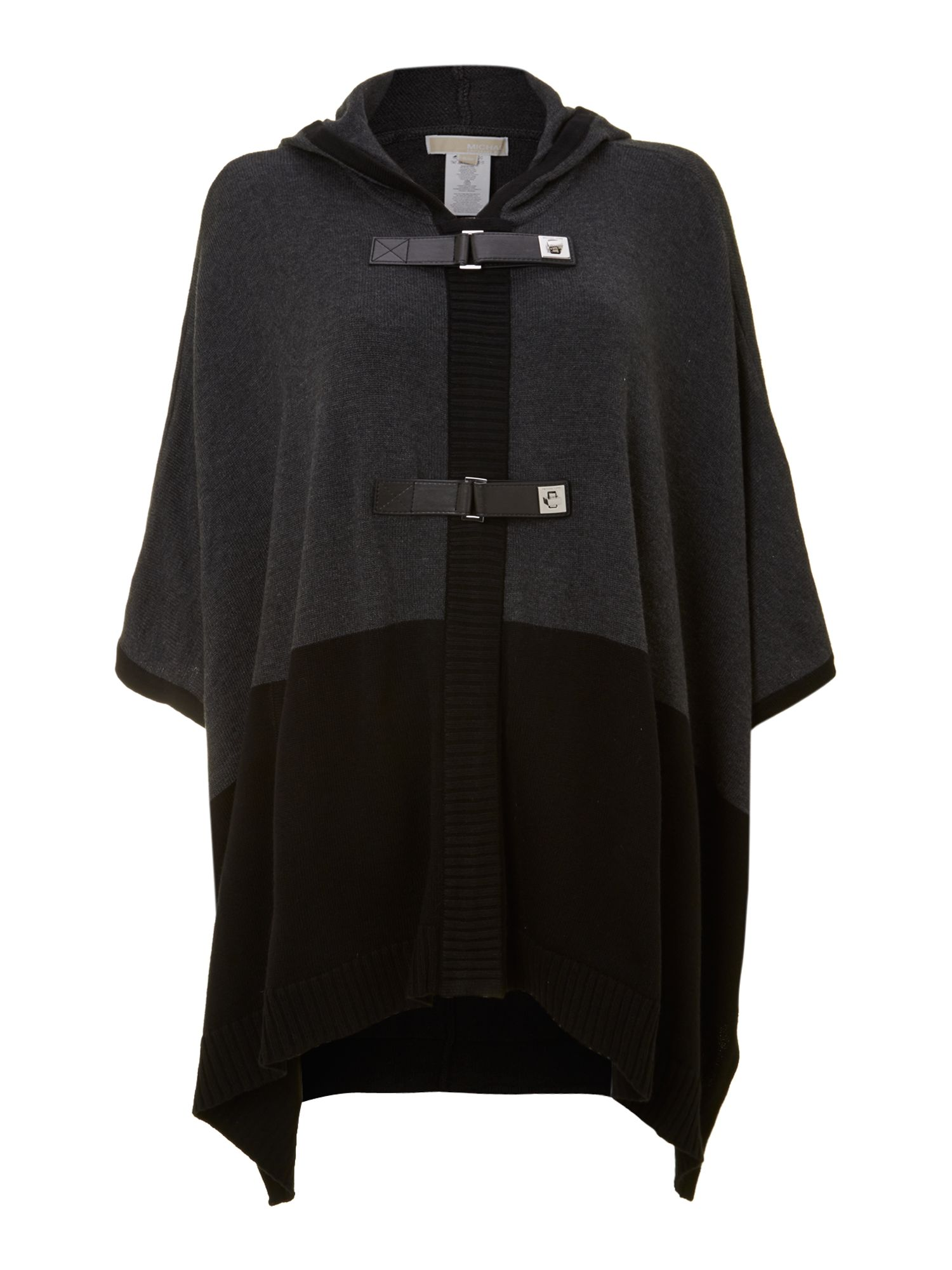 Poncho with hood and buckle detail