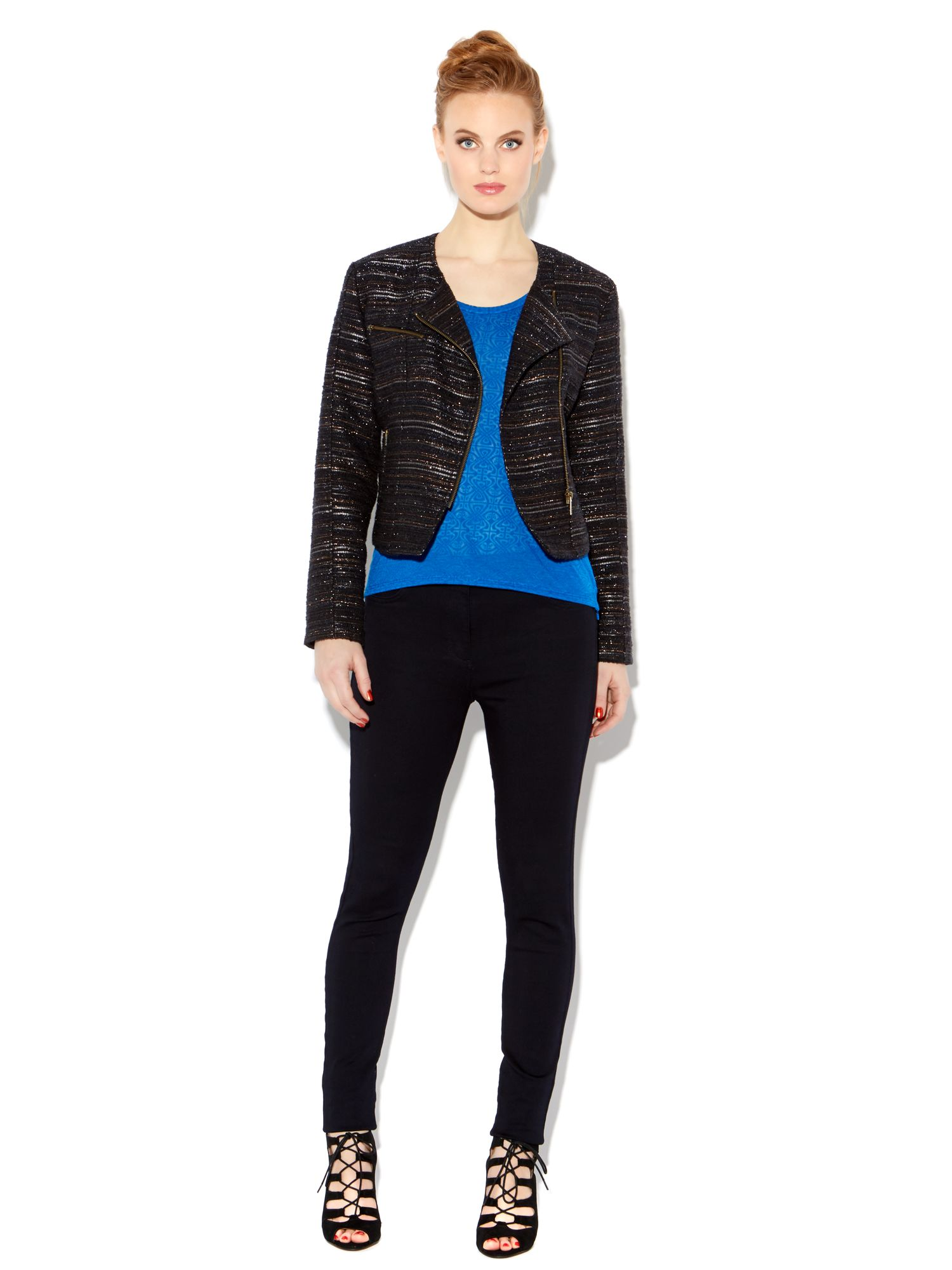 Textured lurex biker jacket