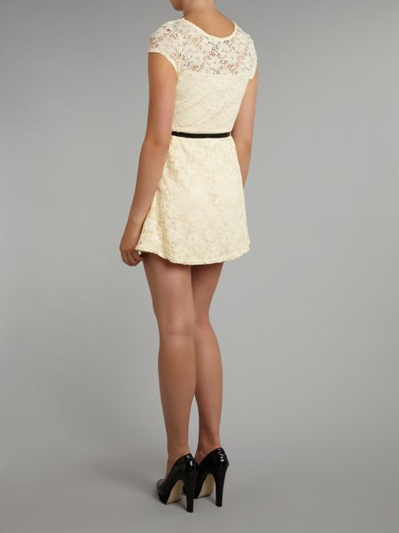 Pussycat Lace sweetheart belted skater dress