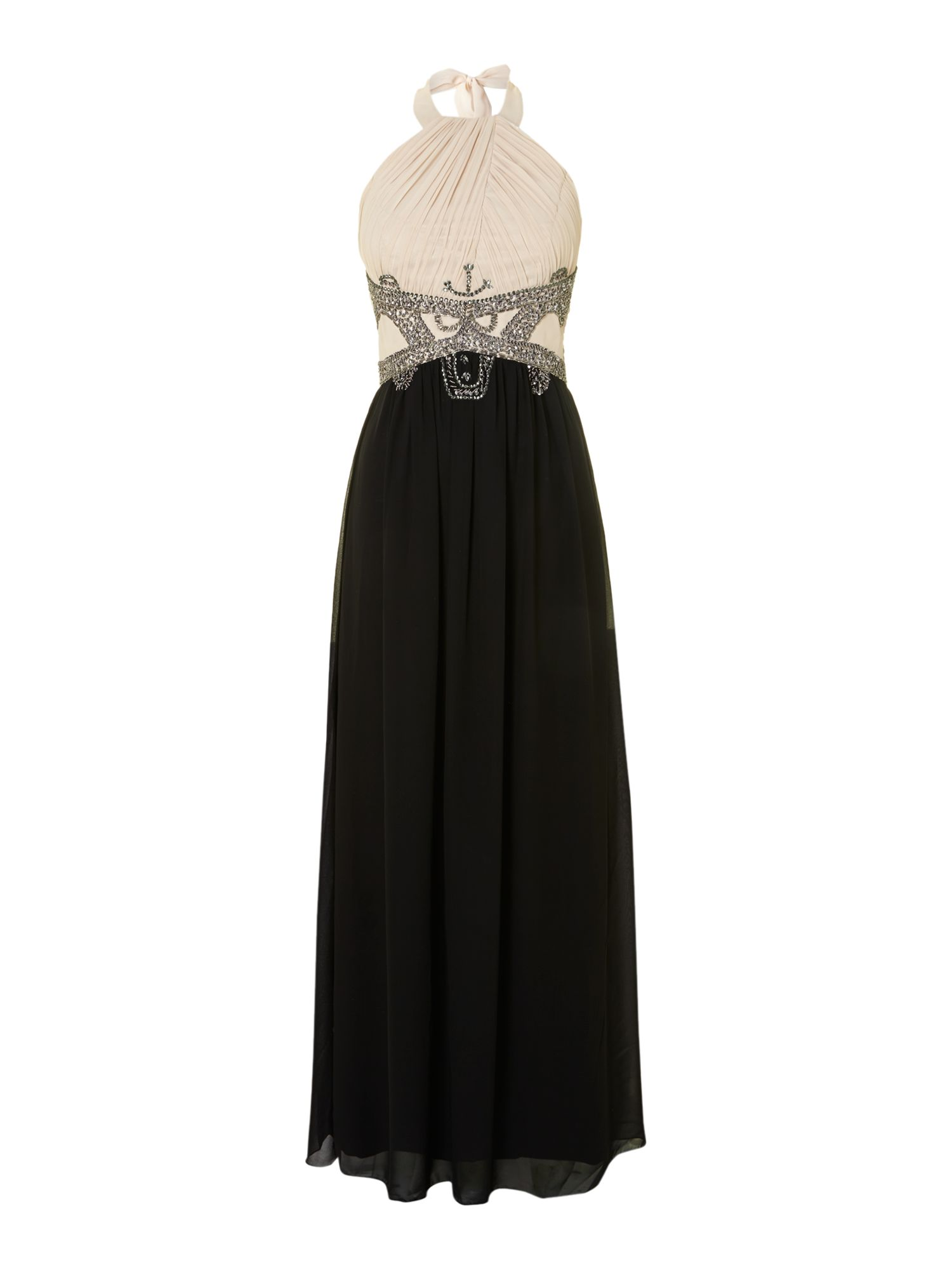 Halter neck embellished maxi dress