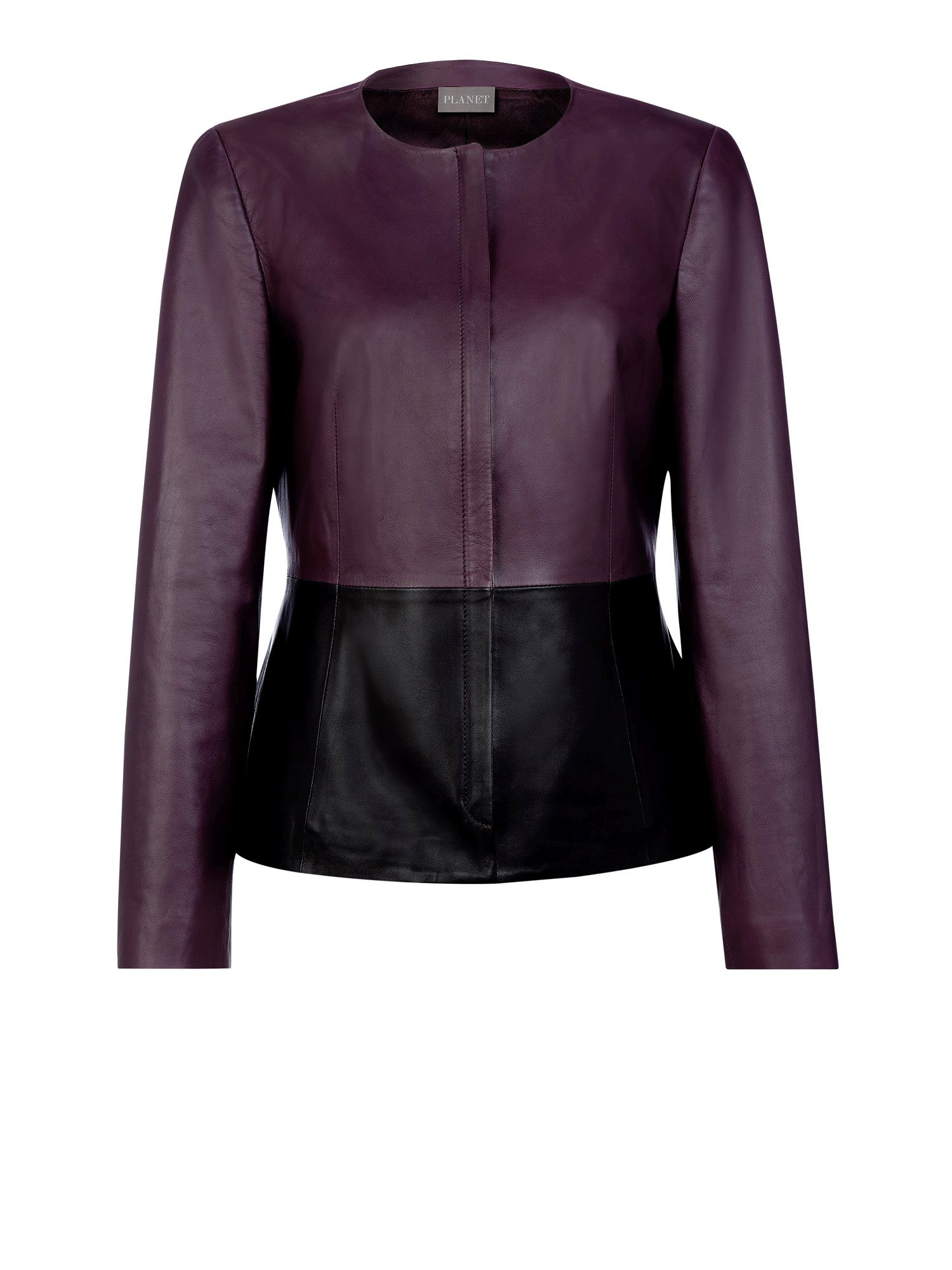 Colourblock leather jacket