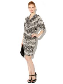 Snake printed cowl dress