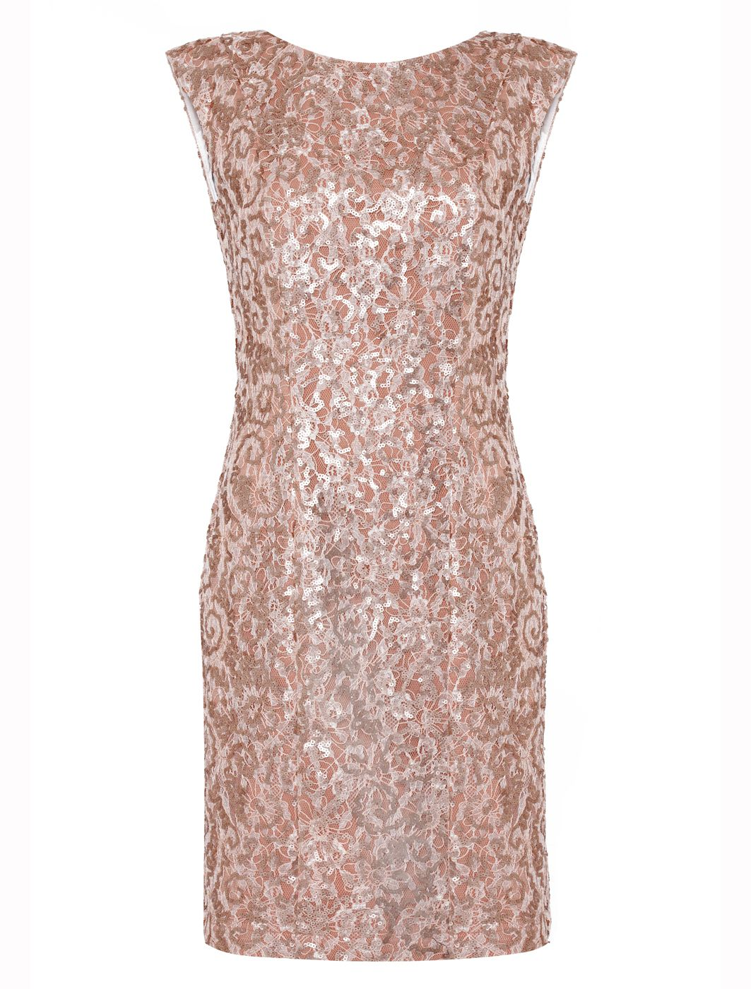 Almost Famous Sequin Dress, Rose Gold