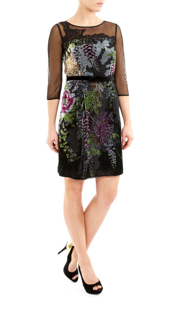 Printed devore dress