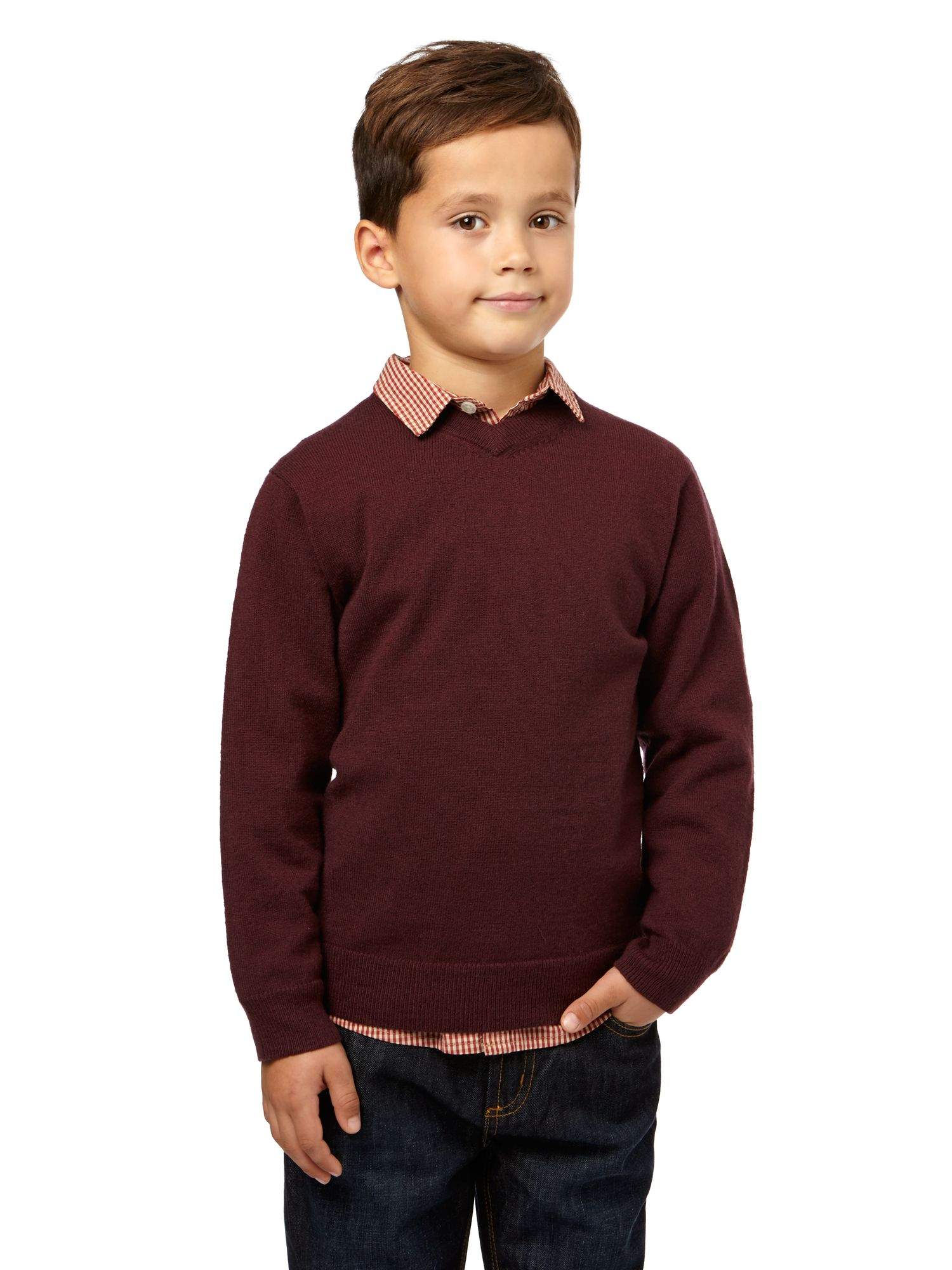 Boys lambswool v neck jumper